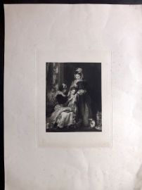 Anon C1860 LG Folio Antique Print. Children & Pretty Lady in Dressing Room
